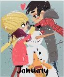 Cute winter cartoon couple. With snowman and dog Royalty Free Stock Photo
