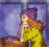 Cute winter cartoon girl woman with cup Stock Photography