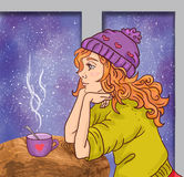 Cute winter cartoon girl woman with cup Stock Images