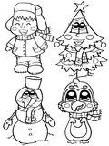 Cute winter characters. For coloring book Royalty Free Stock Photo