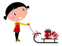 Cute winter child, sledge and christmas presents. Retro christms Girl with sledge and christmas gifts. Vector cartoon Illustration Royalty Free Stock Images
