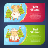 Cute winter chinese new year card. With cute cartoon sheep and 2015 figures Stock Image