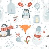 Cute winter and christmas elements seamless pattern. Royalty Free Stock Image