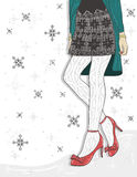 Cute winter fashion background. royalty free illustration