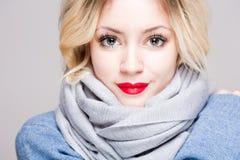 Cute winter fashion girl. Stock Photos