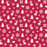 Cute winter forest pixel pattern red and white. Cute vector seamless winter holiday background in red and white. Forest theme with reindeer, trees, snowflakes Stock Images