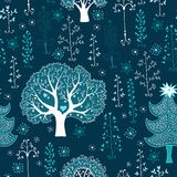 Cute winter forest seamless pattern Stock Photography