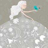 Cute winter girl with bird Stock Image