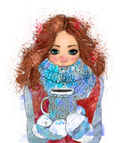Cute winter girl with coffee cup Stock Photos