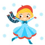 Cute winter girl running in snowfall. Kids winter outdoor activity. Vector illustration. Cute winter girl running in snowfall. Kids winter outdoor fun activity Royalty Free Stock Images