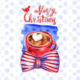 Cute winter greeting card with a mug of hot chocolate. Merry Christmas and Happy New Year collection. Hand painted stock illustration