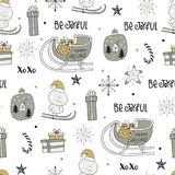 Cute winter hand drawn seamless pattern with Christmas elements. New Year  illustration Stock Photo