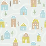 Cute winter houses pattern. Vector EPS10 hand drawn houses seamless pattern Royalty Free Stock Images