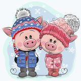 Cute winter illustration Pigs Boy and Girl in hats and coats vector illustration