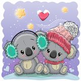 Cute winter illustration with two koalas. In hats Royalty Free Stock Image