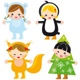 Cute winter kids. Illustration of cute children: polar bear, penguin, squirrel and winter tree