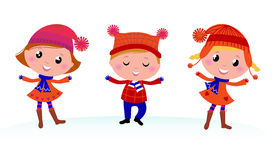 Cute winter kids group. Stock Photo