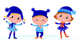 Cute winter kids group. Royalty Free Stock Image