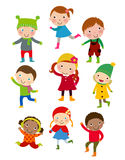 Cute winter kids group. vector illustration