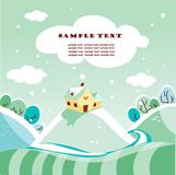 Cute winter landscape. Illustration Royalty Free Stock Photos