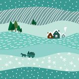 Cute winter landscape seamless pattern