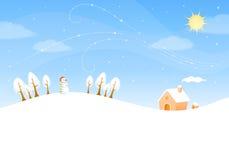 Cute winter landscape with sunny sky Stock Photo