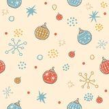 Cute Winter Pattern with festive ornaments and snowflakes. Merry. Christmas Collection. Vector Illustration Stock Images