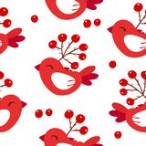 Cute winter pattern with red birds and berries on white background. Ornament for textile and wrapping. Vector royalty free illustration