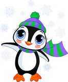 Cute winter penguin with hat and scarf stock illustration