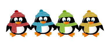 Cute winter penguins Stock Images