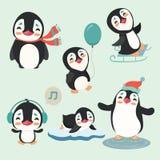 Cute winter penguins set. Stock Photos