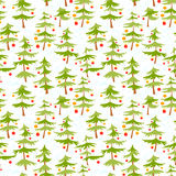 Cute winter seamless pattern  with Christmas tree in cartoon sty Stock Image