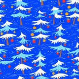 Cute winter seamless pattern  with Christmas tree in cartoon sty Royalty Free Stock Images