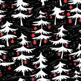 Cute winter seamless pattern  with Christmas tree in cartoon sty Royalty Free Stock Photography