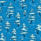 Cute winter seamless pattern  with Christmas tree in doodle styl Stock Photos