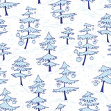 Cute winter seamless pattern  with Christmas tree in doodle styl Stock Images