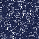 Cute winter seamless pattern  with Christmas tree in doodle styl Royalty Free Stock Photography
