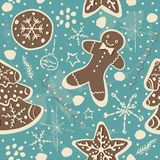 Cute Winter Seamless Pattern with gingerbread cookies. Vector Illustration Stock Photography