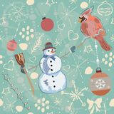 Cute Winter Seamless Pattern with gingerbread cookies. Vector Illustration Royalty Free Stock Photos