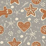 Cute Winter Seamless Pattern with gingerbread cookies. Vector Il royalty free illustration