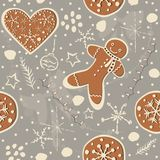 Cute Winter Seamless Pattern with gingerbread cookies. Vector Il. Lustration Stock Photos