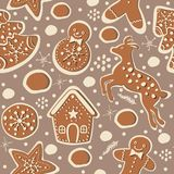 Cute Winter Seamless Pattern with gingerbread cookies. Vector Il. Lustration Royalty Free Stock Photography