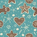 Cute Winter Seamless Pattern with gingerbread cookies. Vector Illustration Royalty Free Stock Photography