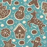 Cute Winter Seamless Pattern with gingerbread cookies. Vector Illustration Stock Photos