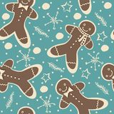 Cute Winter Seamless Pattern with gingerbread cookies. Stock Photo