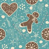 Cute Winter Seamless Pattern with gingerbread cookies. Royalty Free Stock Image