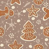 Cute Winter Seamless Pattern with gingerbread cookies. Vector Il. Lustration Royalty Free Stock Photos