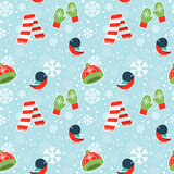 Cute winter seamless pattern on snowflakes background Royalty Free Stock Photography