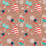 Cute winter seamless pattern on snowflakes background Stock Image
