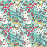 Cute winter seamless pattern with snowman and ski Stock Images